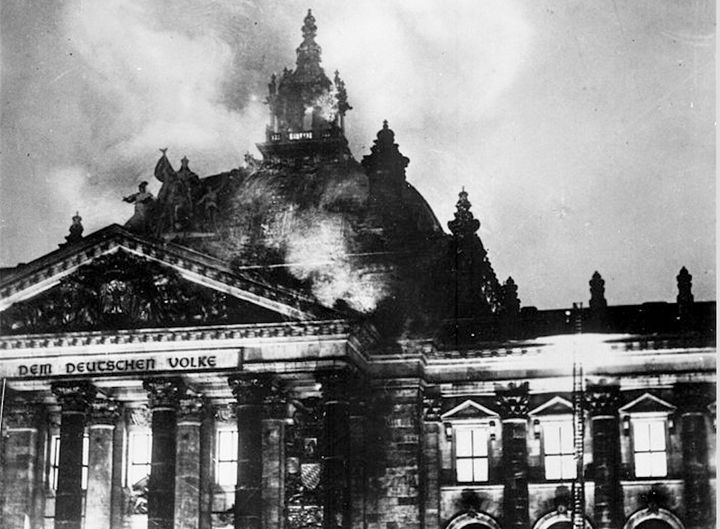 Berlin's Reichstag arson fire of February 27, 1933, by means of which Hitler came to power.