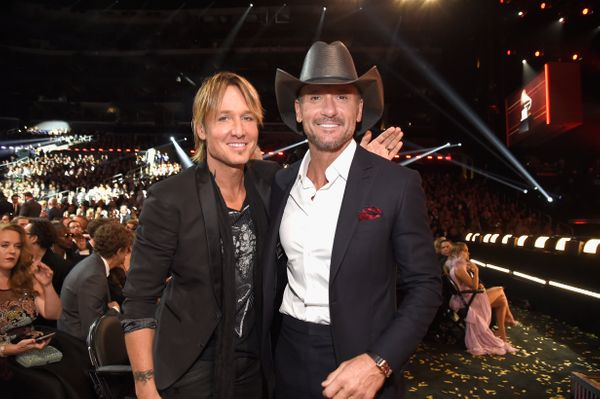 Keith Urban and Tim McGraw during The 59th GRAMMY Awards at STAPLES Center on Feb. 12, 2017 in Los Angeles, California.
