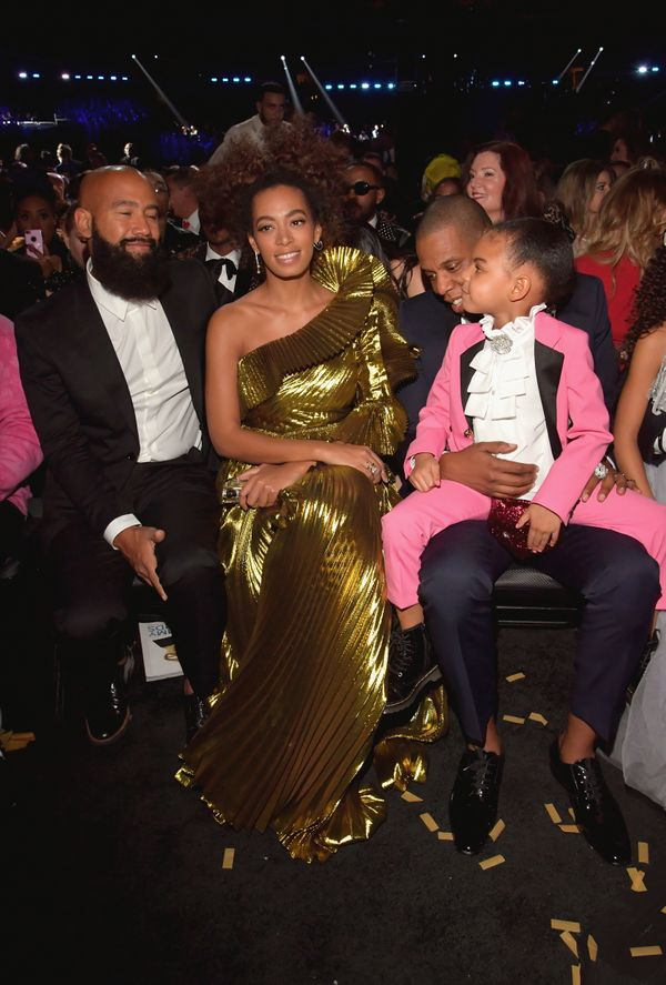 Alan Ferguson, Solange Knowles, Jay-Z and Blue Ivy Carter during The 59th GRAMMY Awards at STAPLES Center on Feb. 12, 2017 in
