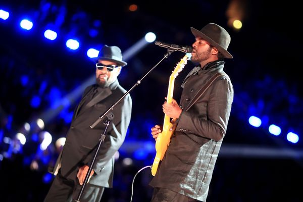 Musicians William Bell and Gary Clark Jr during The 59th GRAMMY Awards at STAPLES Center on Feb. 12, 2017 in Los Angeles, Cal