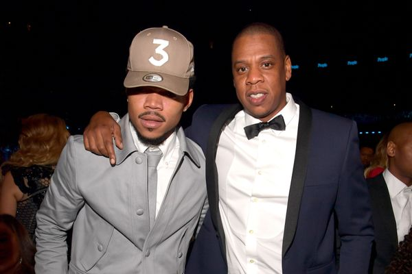 Hip-hop artists Chance The Rapper (L) and Jay Z during The 59th GRAMMY Awards at STAPLES Center on Feb. 12, 2017 in Los Angel
