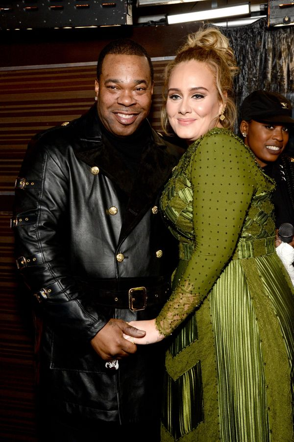 Recording artists Busta Rhymes (L) and Adele attend The 59th GRAMMY Awards at STAPLES Center on Feb. 12, 2017 in Los Angeles,