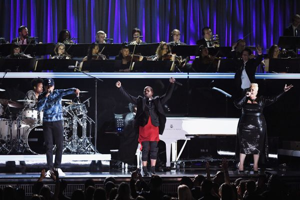 Recording artists Chance the Rapper, Kirk Franklin, and Tamela Mann perform onstage during The 59th GRAMMY Awards at STAPLES