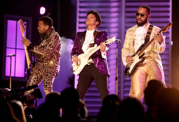 Musician Bruno Mars (C) during The 59th GRAMMY Awards at STAPLES Center on Feb. 12, 2017 in Los Angeles, California.