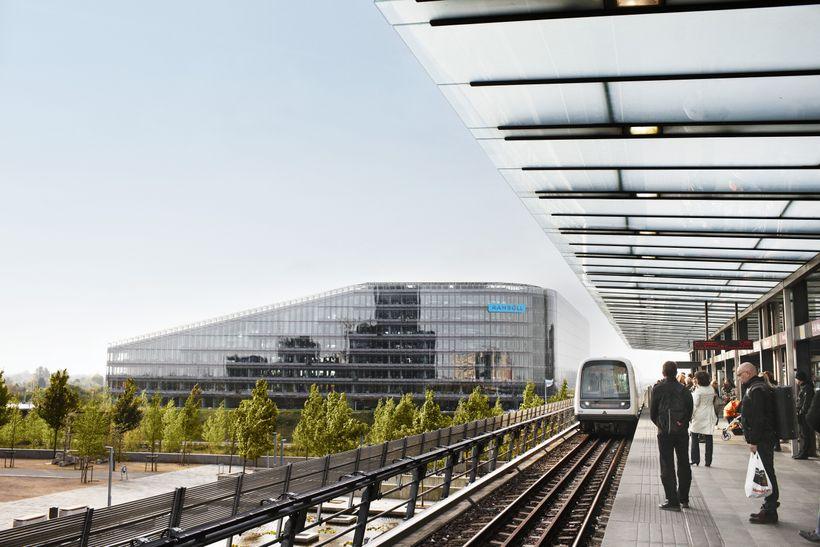 <strong>Rambøll's headquarters in Copenhagen's new Ørestaden neighborhood, seen from the Ørestad metro station</strong>