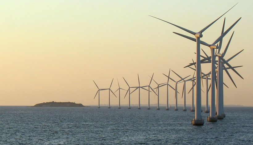 Offshore wind turbines just outside Copenhagen provide the city with green power