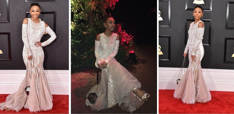 Singer Kriss Mincey in Miri Couture with shoes by Aethon Ulyse and clutch by NS by Noof