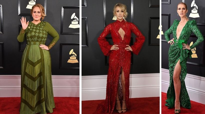 Adele in Givenchy, Carrie Underwood in Elie Madi, Celine Dion in Zuhair Murad