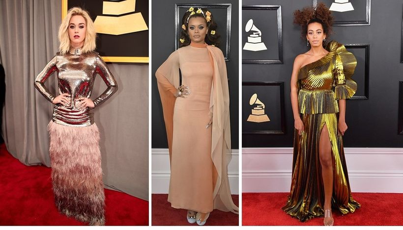 Katy Perry in Tom Ford, Andra Day in Vintage Christian Dior, Solange in Gucci