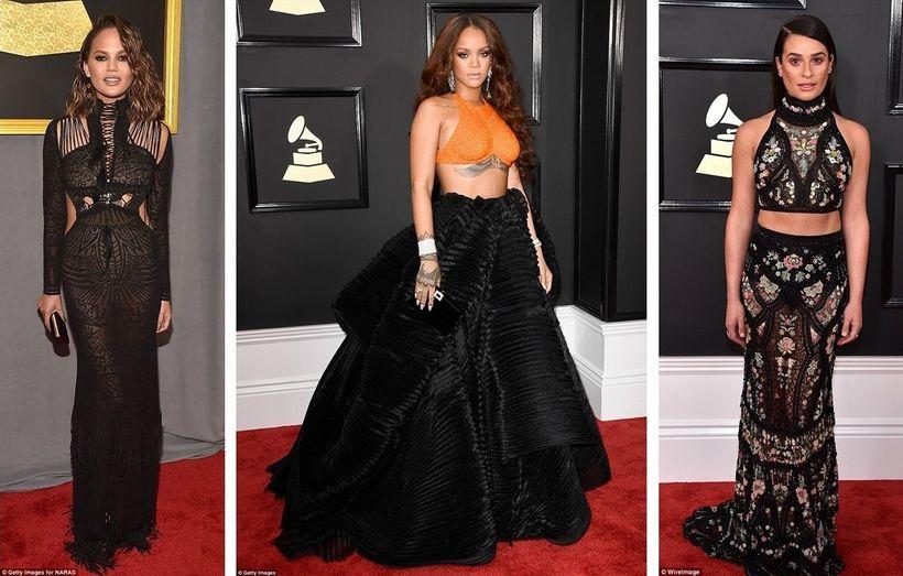 Chrissy Teigen in Roberto Cavalli, Rihanna in Armani Prive, Lea Michele in Roberto Cavalli