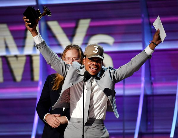 "Chance the Rapper was overflowing with joy when he won his first three Grammy awards ever. He <a href=""http://www.huffin"