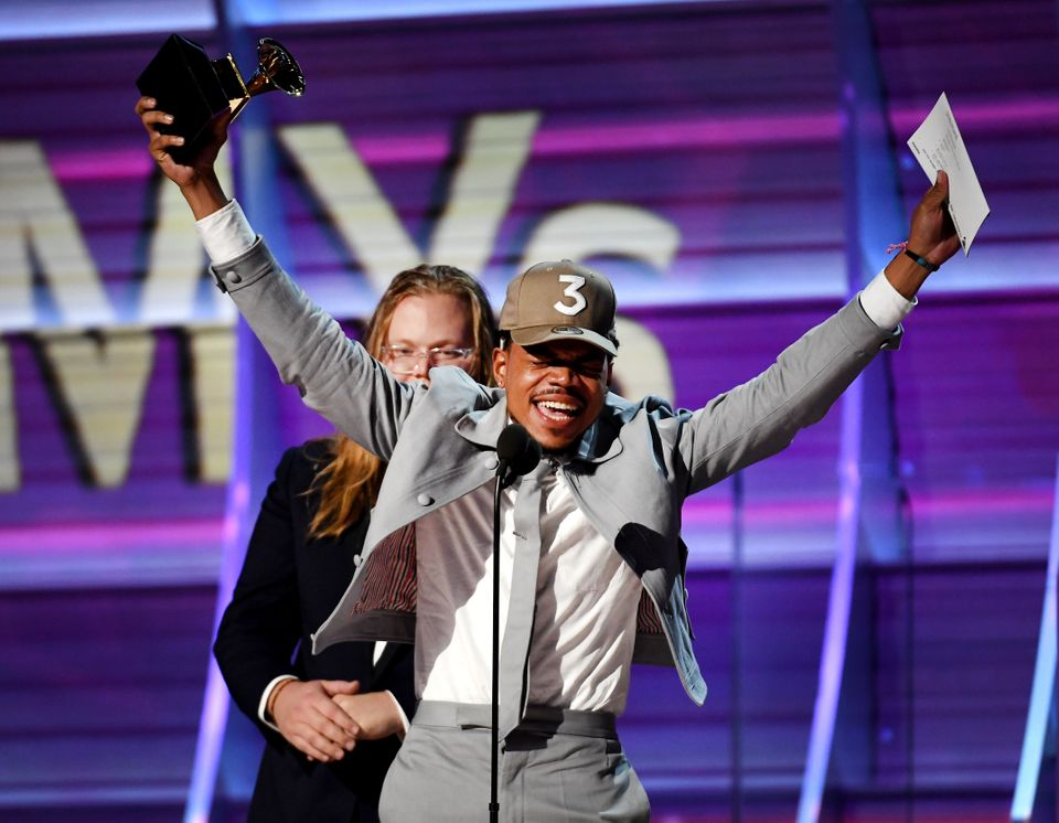 "Chance the Rapper was overflowing with joy when he won his first three Grammy awards ever. He <a href=""https://www.huffp"