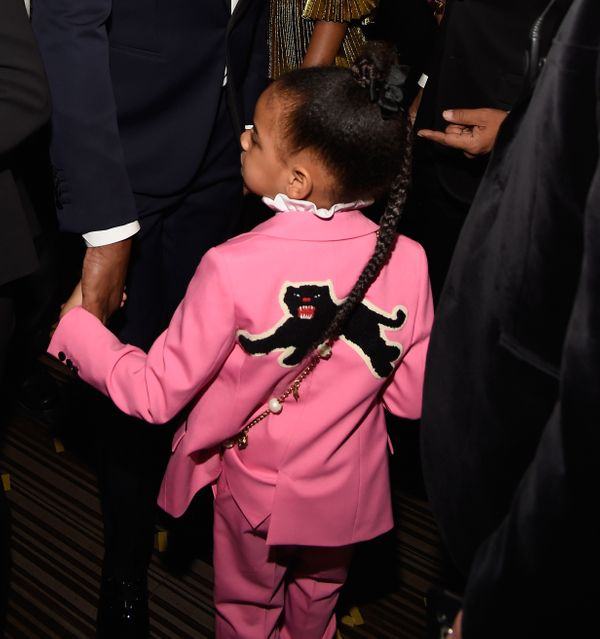 "Beyoncé's first born donned a <a href=""http://www.dailymail.co.uk/tvshowbiz/article-4218446/Blue-Ivy-sits-Jay-Z-s-lap-"