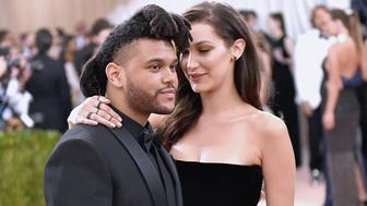 NEW YORK, NY - MAY 02:  The Weeknd (L) and Bella Hadid attend the 'Manus x Machina: Fashion In An Age Of Technology' Costume Institute Gala at Metropolitan Museum of Art on May 2, 2016 in New York City.  (Photo by Mike Coppola/Getty Images for People.com)