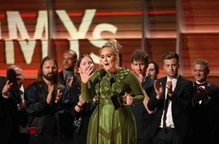 """Adele won five awards at the 59th annual <a href=""""http://www.huffingtonpost.com/news/grammy-awards"""">Grammy Awards</a> on Sund"""