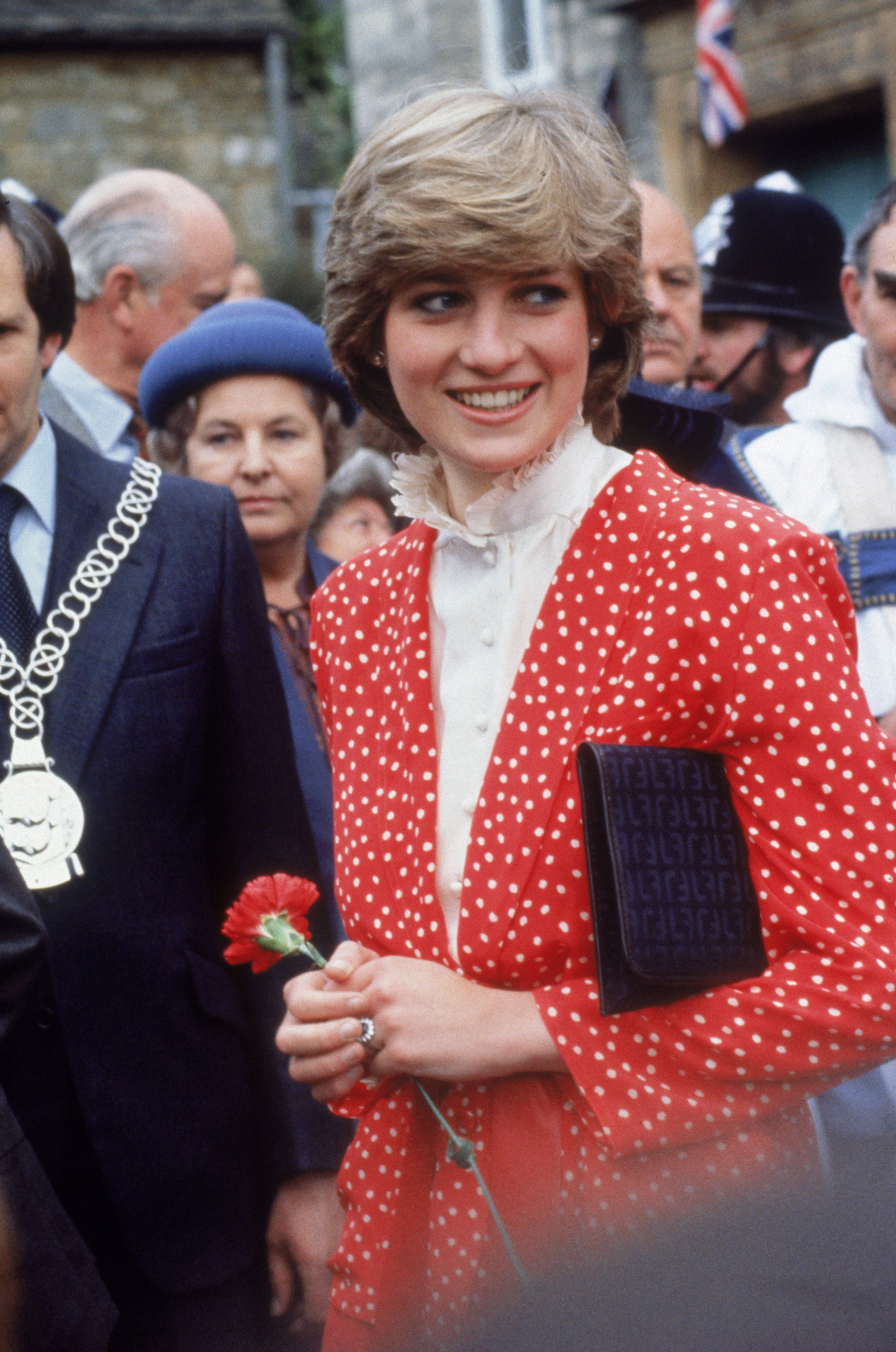 Lady Diana Spencer (1961 - 1997) visits the town of Tetbury in Gloucestershire shortly after her engagement to Prince Charles, 22nd May 1981. She is wearing a Jasper Conran suit. (Photo by Jayne Fincher/Princess Diana Archive/Getty Images)