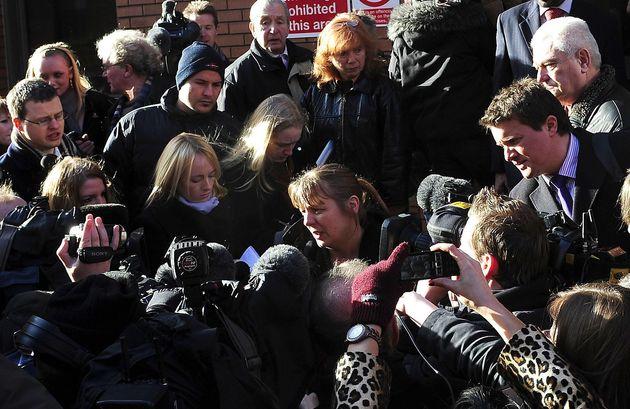 Julie Bushby (centre) talks to the media outside Leeds Crown Court following Matthews'sentencing...