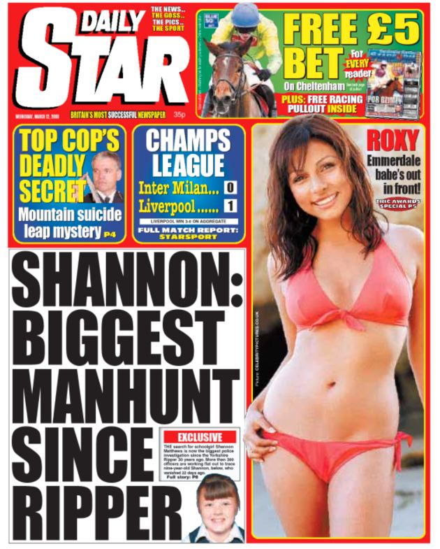 The Daily Stars front page about the search for Shannon Matthews in March