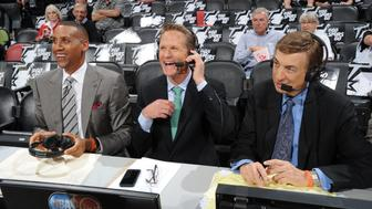 SAN ANTONIO, TX - MAY 21: TNT commentators Reggie Miller Steve Kerr and Marv Albert before the game between the Oklahoma City Thunder and San Antonio Spurs in Game Two of the Western Conference Finals during the 2014 NBA Playoffs on May 21, 2014 at the AT&T Center in San Antonio, Texas.  NOTE TO USER: User expressly acknowledges and agrees that, by downloading and or using this photograph, User is consenting to the terms and conditions of the Getty Images License Agreement. Mandatory Copyright Notice: Copyright 2014 NBAE  (Photo by Andrew D. Bernstein/NBAE via Getty Images)