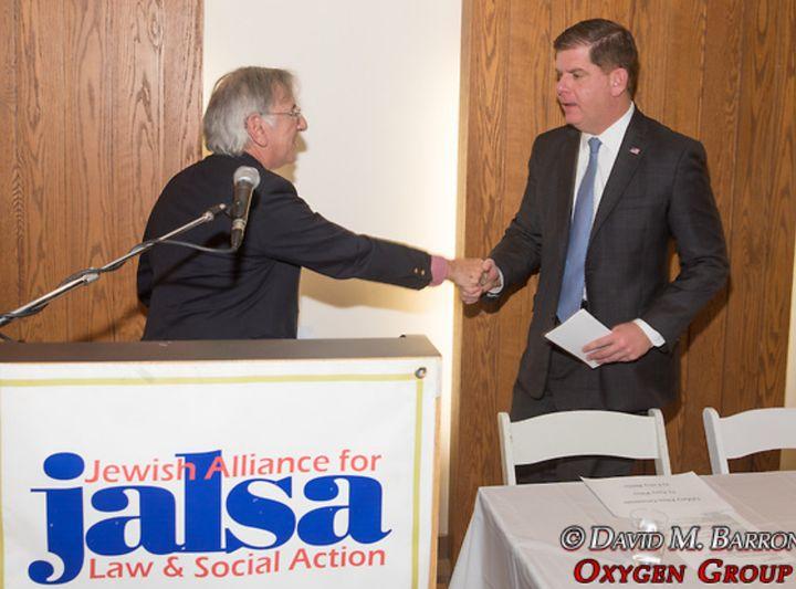 JALSA Incoming President Larry Bailis welcomes Boston Mayor Maty Walsh.