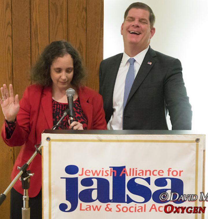 JALSA Deputy Director Cindy Rowe with Boston Mayor Marty Walsh