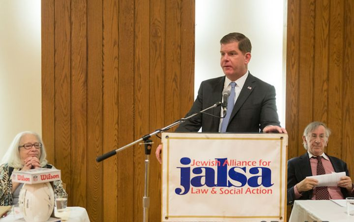 JALSA Executive Director Sheila Decter and Incoming President Larry Bailis listen to Boston Mayor Marty Walsh.