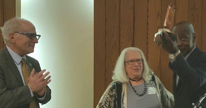 Outgoing JALSA President Mass. Rep. Frank Smizik and JALSA Executive Director Sheila Dector present award to Prof. Charles Og