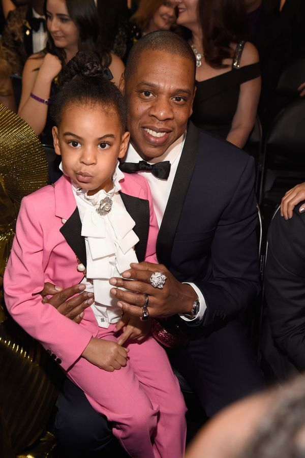 Five-year-old Blue Ivy Carter paid tribute to Prince with her pink suit and ruffle blouse.