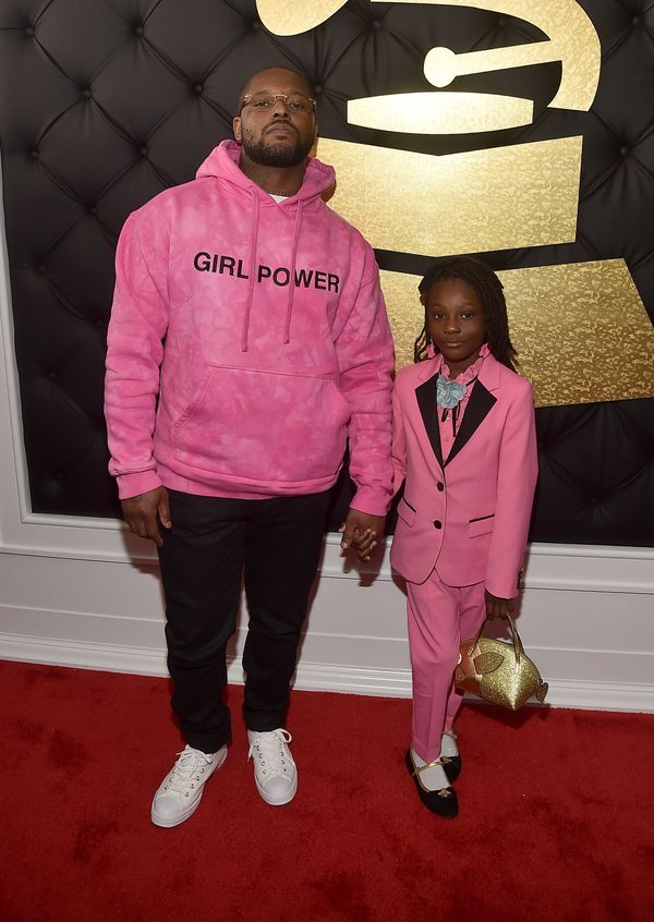 Schoolboy Q walked the red carpet with his 7-year-old daughter, Joy Hanley, who also rocked a pink suit.