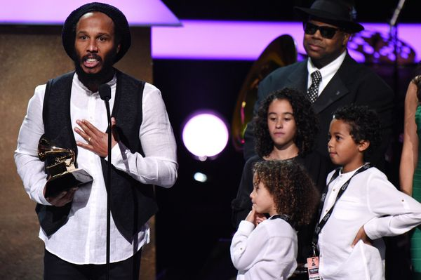 Accepting the award for Best Reggae Album, Ziggy Marley was joined onstage by three of his children, 11-year-oldJudah,