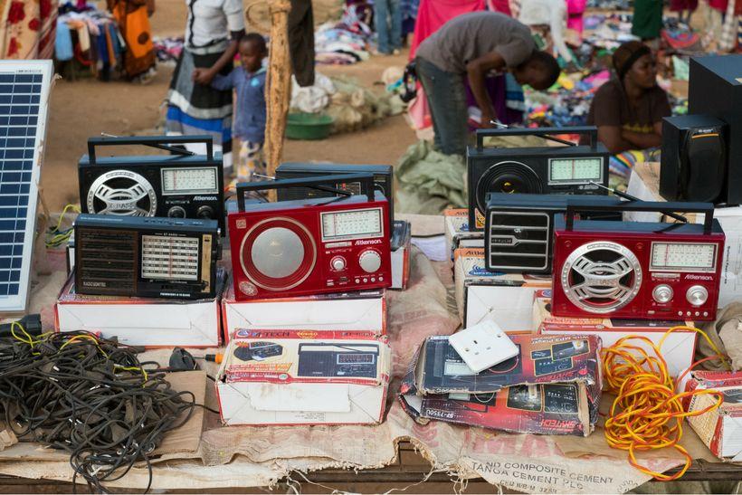Radios at a market in Terrat, Simanjiro, Tanzania.