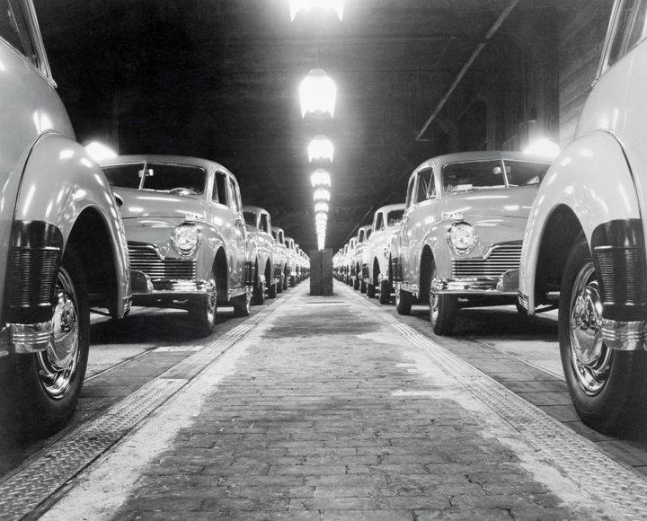 Final passenger cars begin to roll at Studebaker in South Bend, Indiana.