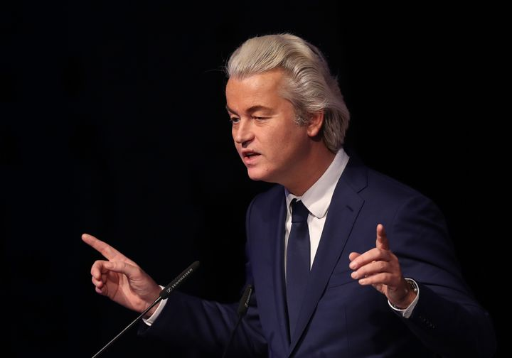Geert Wilders, leader of the Dutch PVV political party, speaks at a conference of European right-wing parties. Jan. 21, Koble