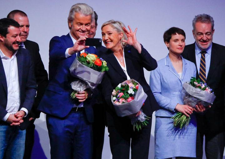 Le Pen and Wilders take a selfie during a meeting with other European far-right leaders to discuss the European Union. Jan. 2