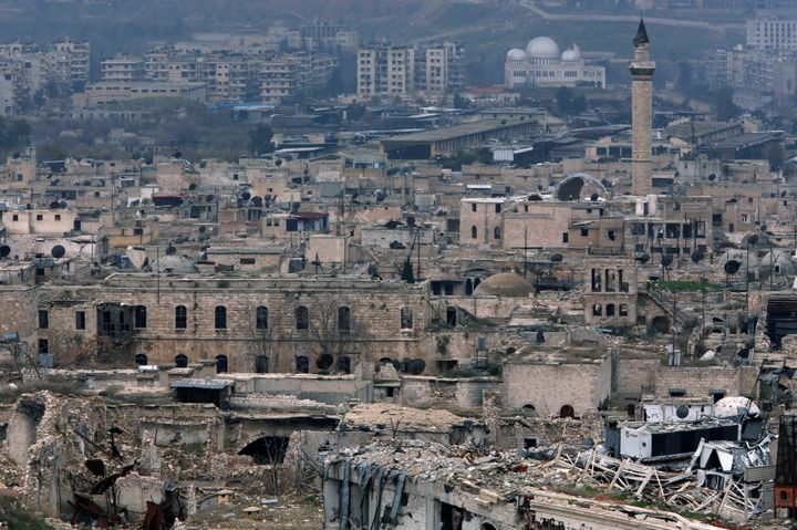 Destroyed buildings in the old city of Aleppo, as seen from its citadel on Jan. 31, 2017.