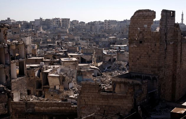 A photo shows the damage in the al Kalasa district of Aleppo, Syria, on Feb. 2,