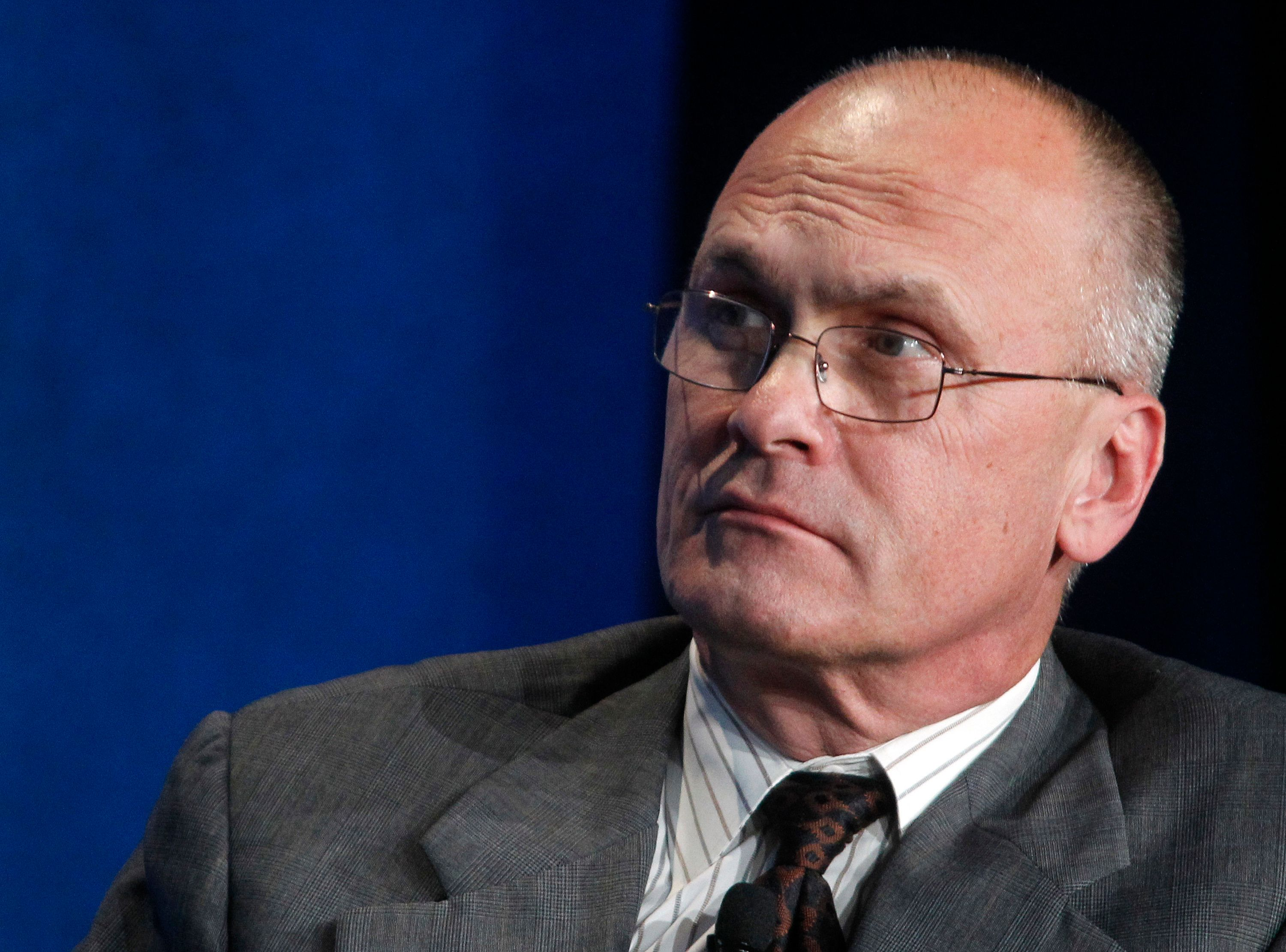 """Andrew Puzder, CEO of CKE Restaurants, takes part in a panel discussion titled """"Understanding the Post-Recession Consumer"""" at the Milken Institute Global Conference in Beverly Hills, California  April 30, 2012.  REUTERS/Fred Prouser  (UNITED STATES - Tags: BUSINESS FOOD)"""