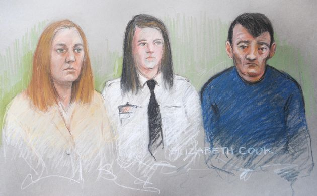 Court artist impression of Karen Matthews, 33, (left) and Michael Donovan, 40, (right) during the first...