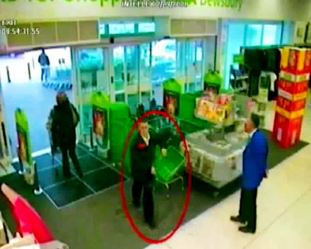 CCTV image issued by police of Michael Donovan, entering ASDA in Dewsbury, shown as evidence by the prosecution...