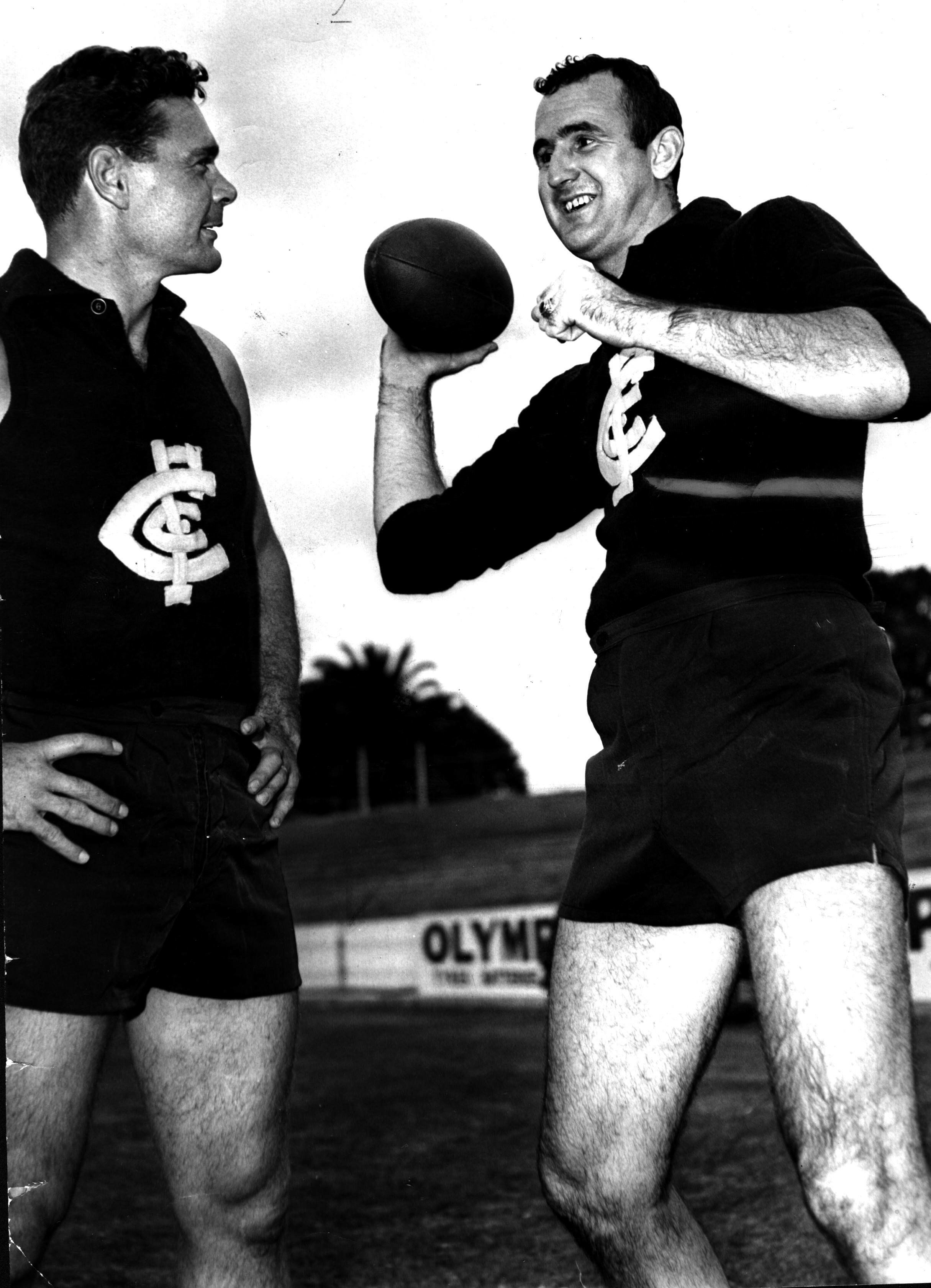 A February 1966 photo of Colin Ridgway showing Carlton coach Ron Barassi how to play football the American way in Melbourne,