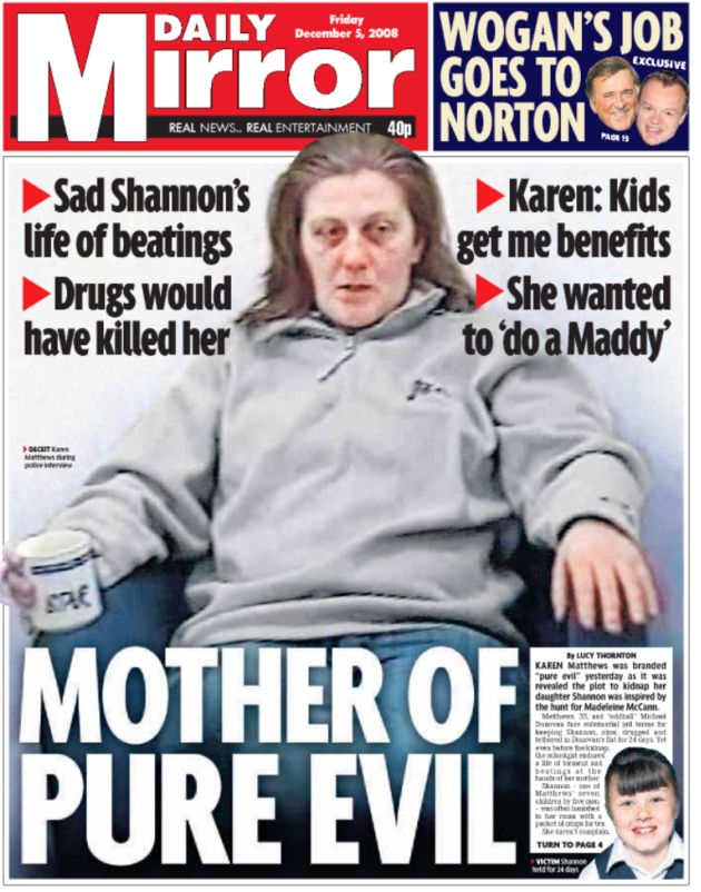 The Daily Mirror front page after the guilty verdict against Karen Matthews in