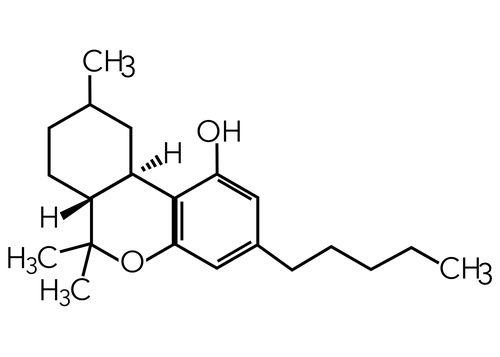The Delta-9 Tetrahydrocannabinol (THC) molecule