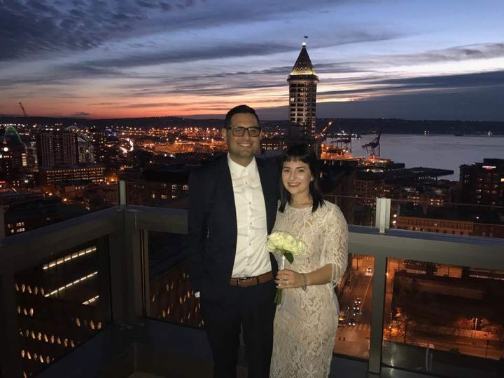 The wedding ceremony was officiated by judge on the rooftop of the Seattle Municipal Courthouse.
