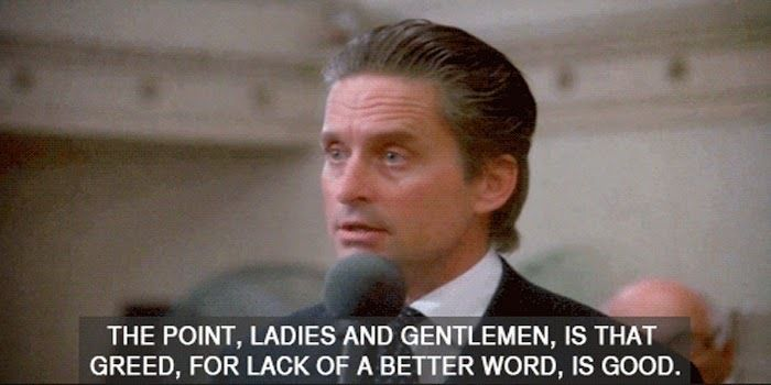 "Michael Douglas as Gordon Gekko in ""Wall Street"""