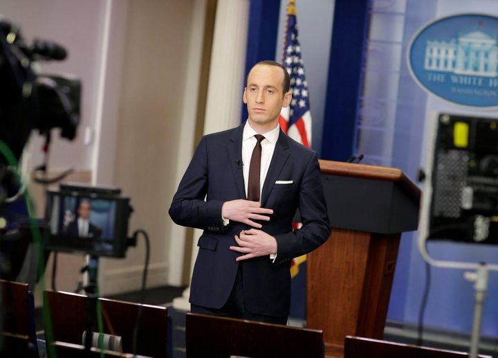 Stephen Miller, 31, prepares to speak to Sunday morning news programs (2/12/17)