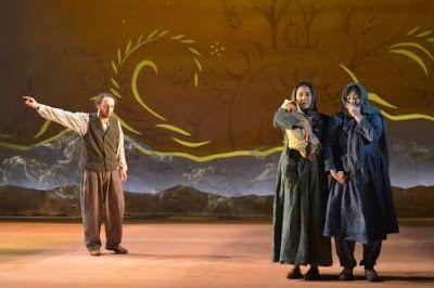 Haysam Kadri (Rasheed), Nadine Malouf (Laila) and Kate Rigg (Mariam) in a scene from <strong><em>A Thousand Splendid Suns</em