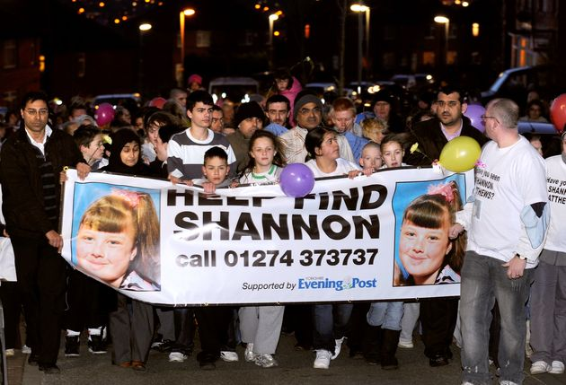 Supporters and family members of missing nine year old Shannon Matthews walk around Dewsbury in this...
