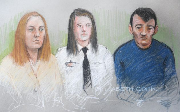 Court artist Elizabeth Cook's impression of Karen Matthews, 33, (left) and Michael Donovan, 40, (right)...