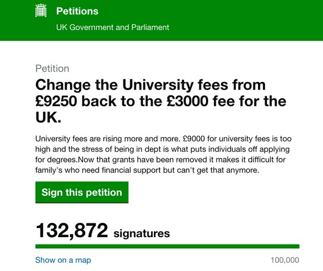 More than 130,000 people have signed a petition calling on the government to reduce tuition