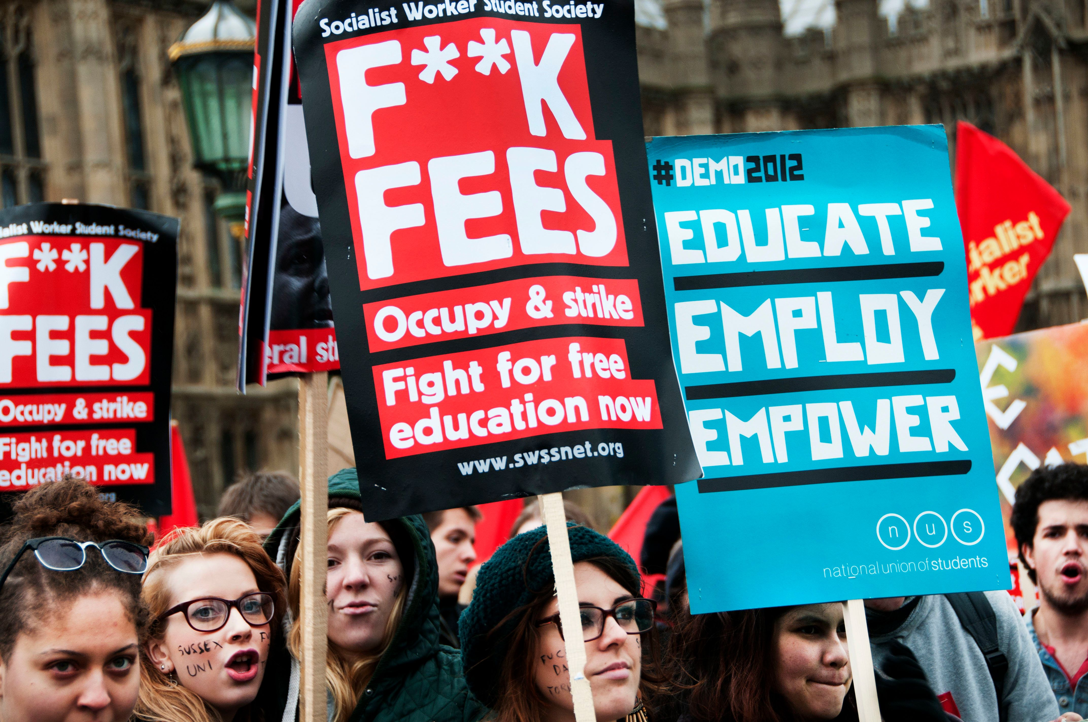 The rise in tuition fees to £9,000 a year led to huge student
